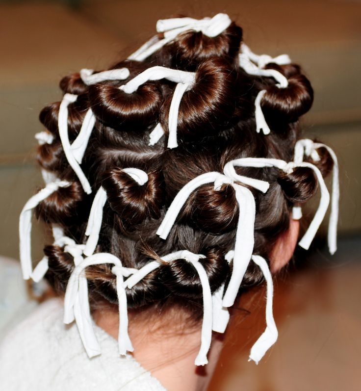 накрутить волосы бумагой и тканью