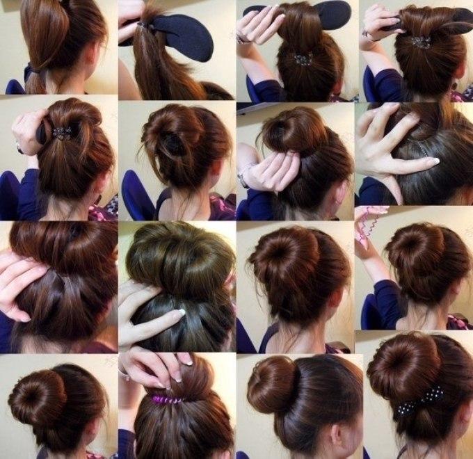 Прическа с бубликом для волос способы