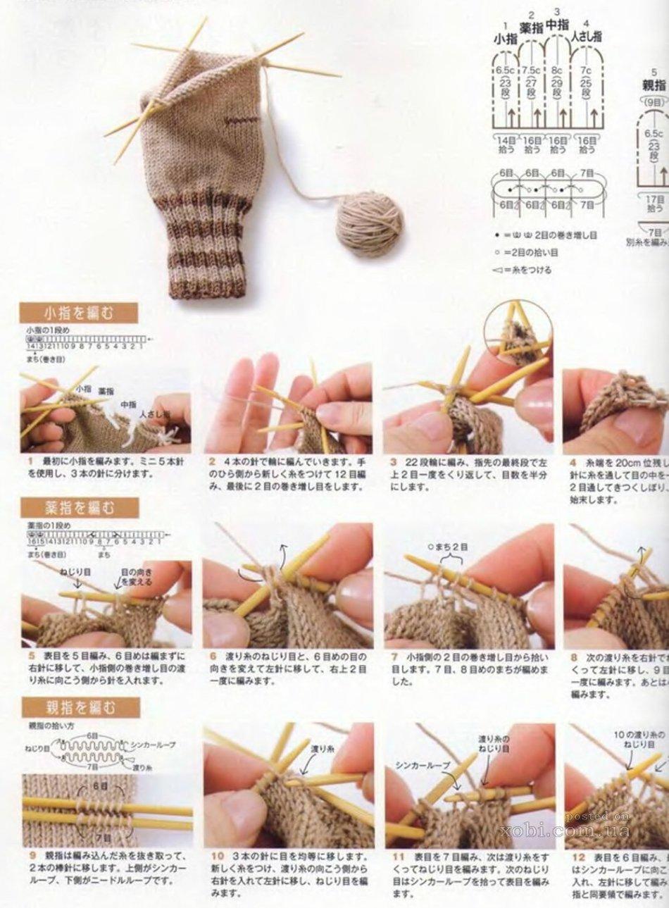 схема вязания спицами длинных перчаток