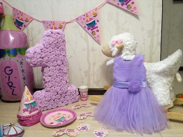 Как сделать цифру 1 на день рождения ребенку салфетками 99