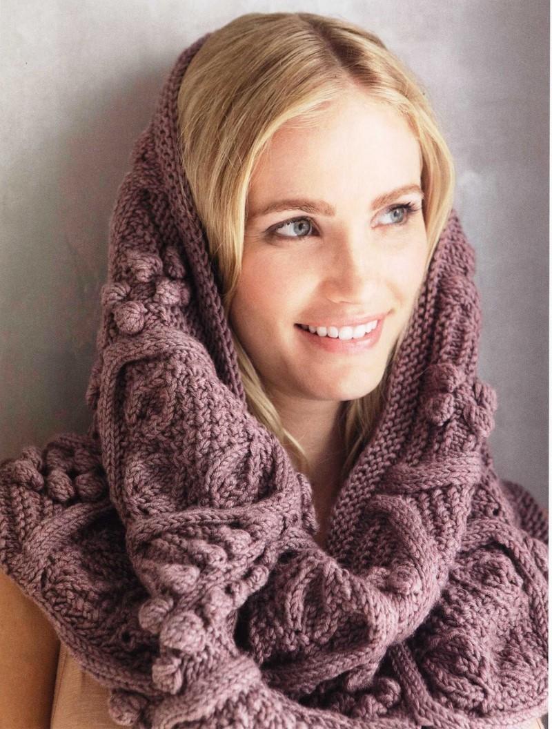 схемы вязания шарф хомут спицами из мохера