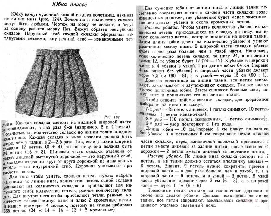 Описание вязания спицами юбки плиссе