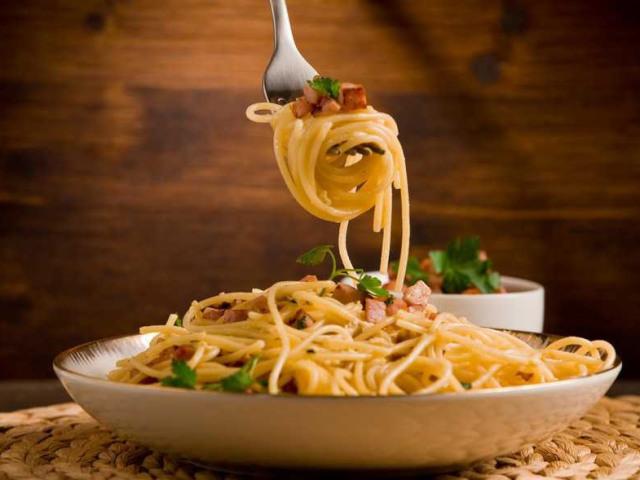 рецепт паста карбонара с ветчиной и грибами