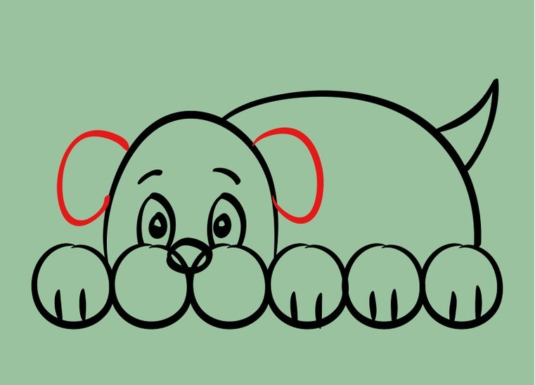 Как нарисовать лежащего щенка: шаг 6