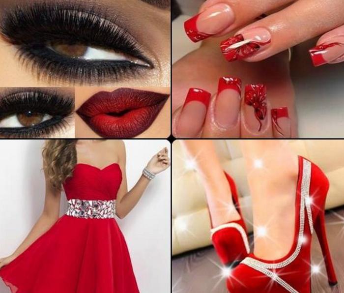 Маникюр к платью красного цвета