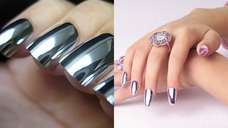 Зеркальная втирка дизайн ногтей