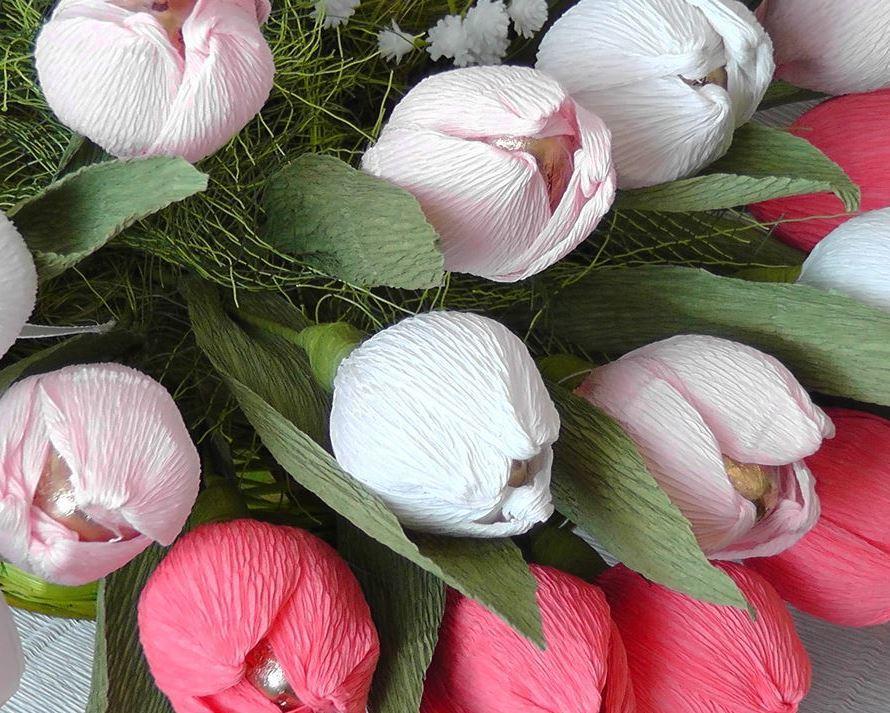 Букет тюльпанов из конфет сделать своими руками