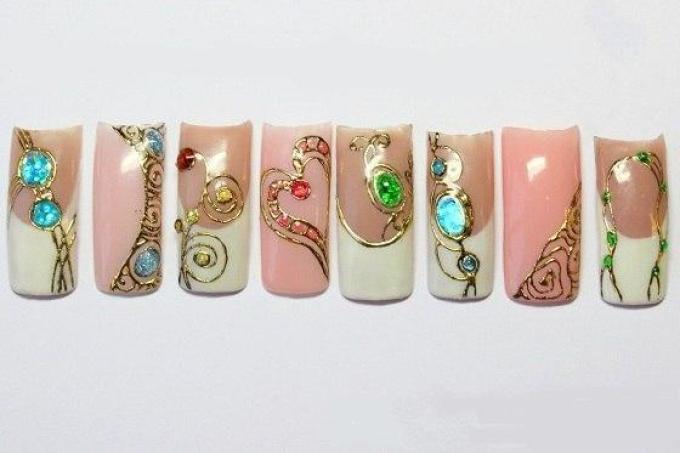 Фото рисунок на ногтях жидкие камни