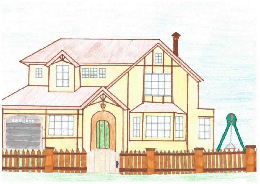 Красивые дома рисованные карандашом.