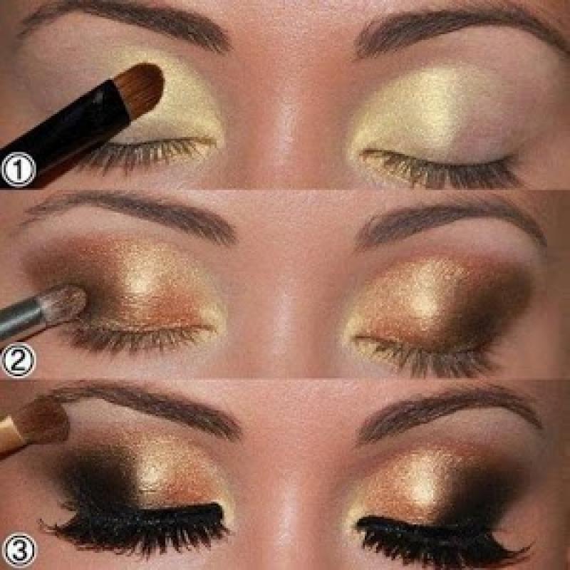Как красиво накрасить глаза золотыми тенями пошаговая инструкция