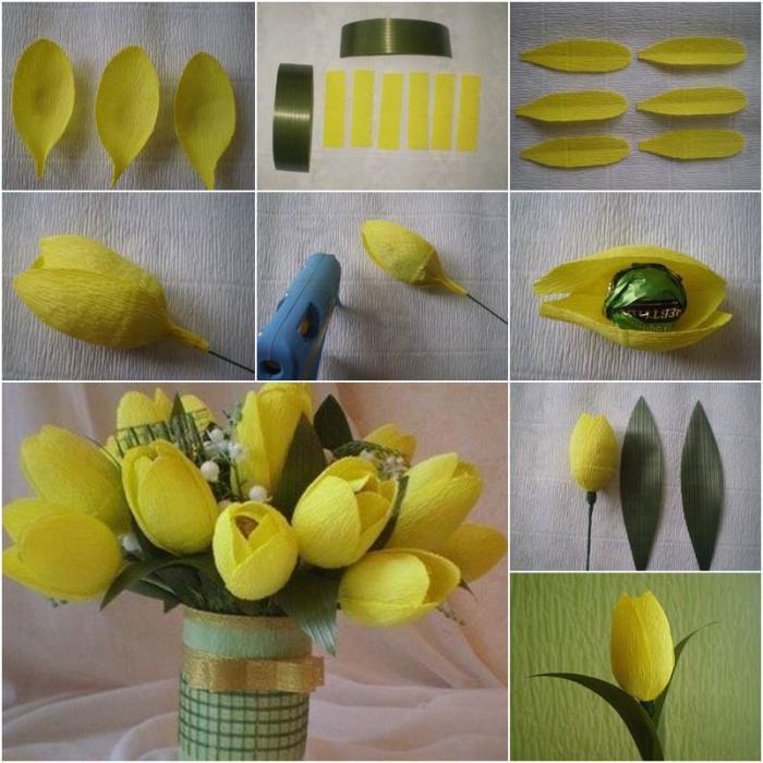 Цветы конфеты из гофрированной бумаги