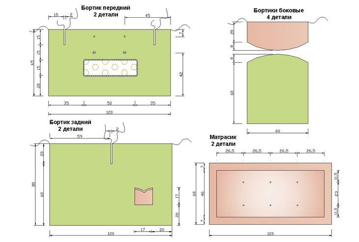 Выкройки бортиков в кроватку размеры подушек