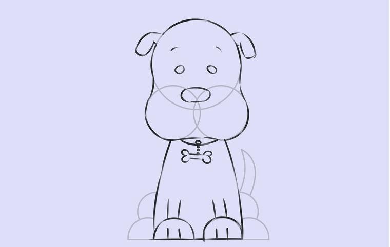Поэтапное рисование сидящей собаки: основной рисунок — шаг 6