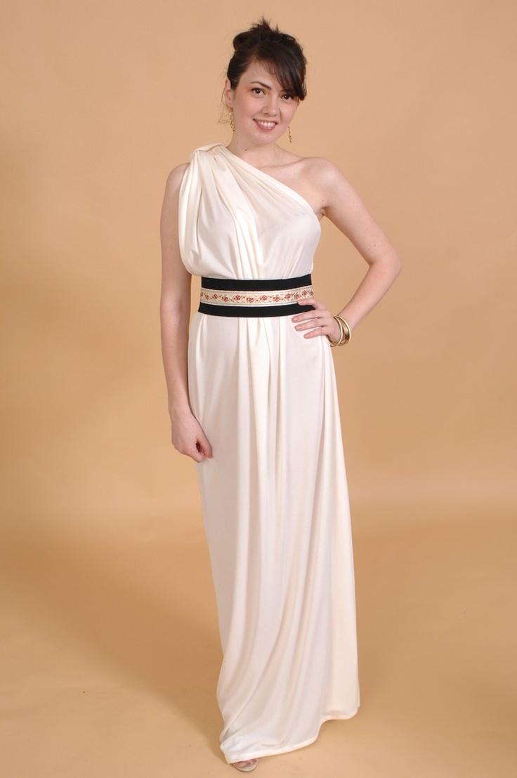 Простое платье в греческом стиле можно сделать и с лямкой на одно плечо