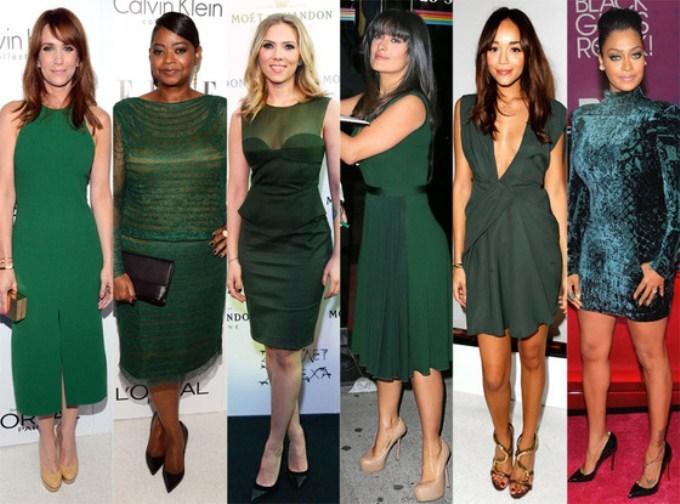 Какого цвета туфли под зеленое платье