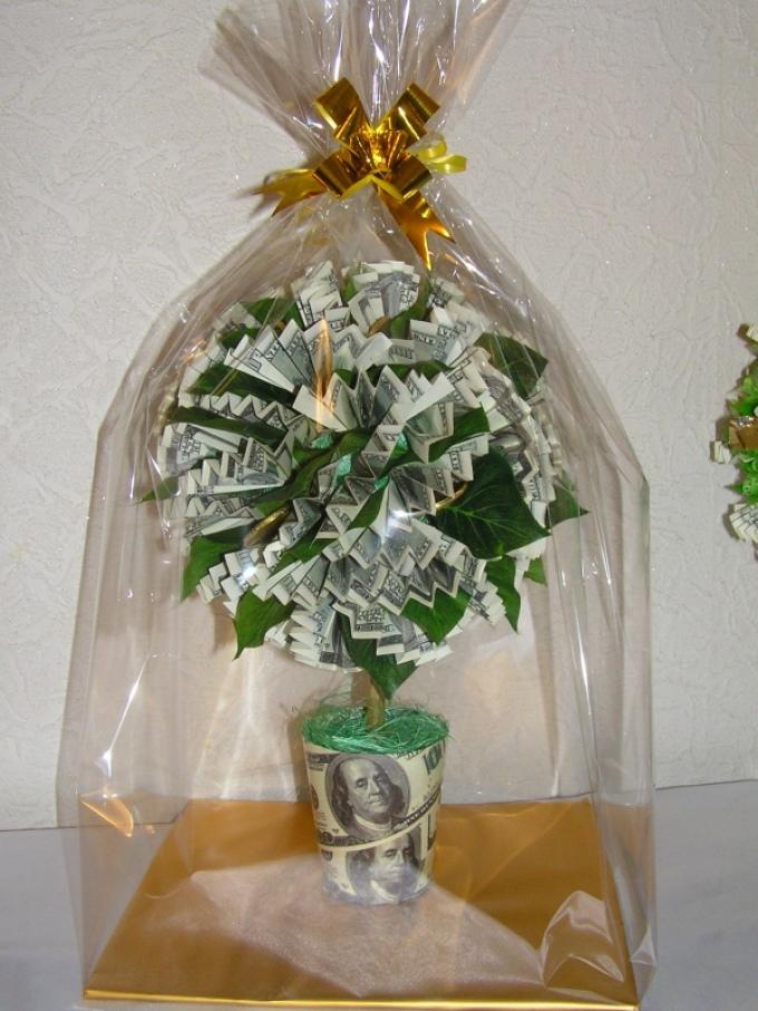 Как сделать денежное дерево из купюр в подарок