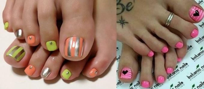 Оригинальный дизайн на ногтях ног