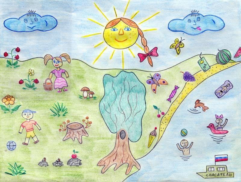 Рисунок детей на тему летом