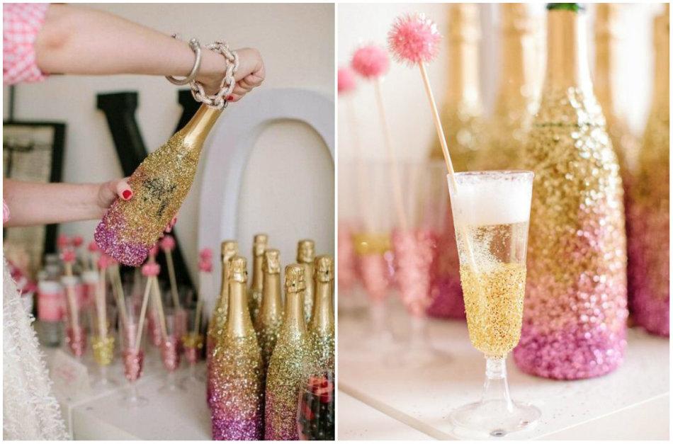 Бутылки от шампанского в новогоднем декоре