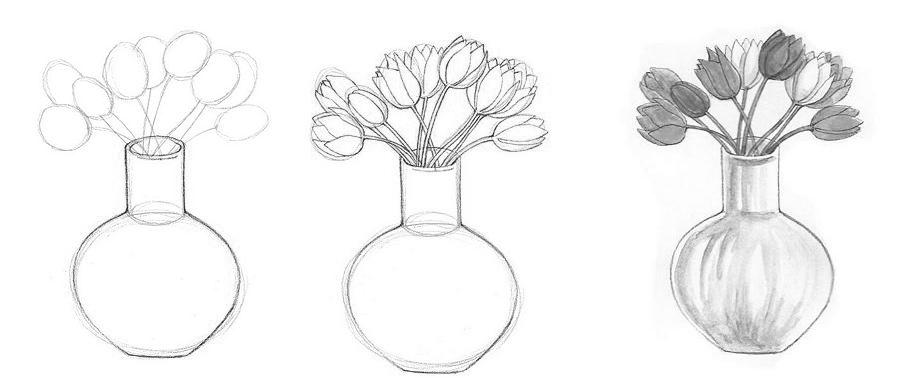 Поэтапное рисование вазы с цветами.