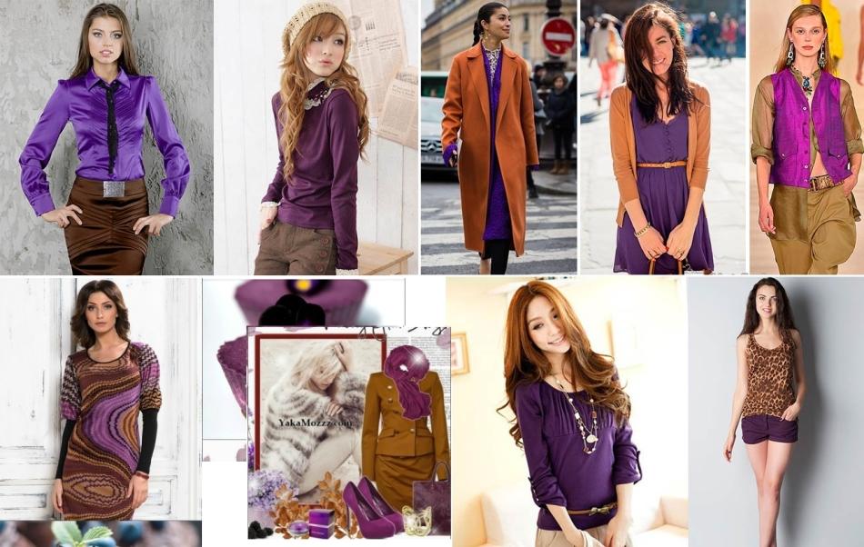 Сочетание темных фиолетовых и светлых коричневых оттенков