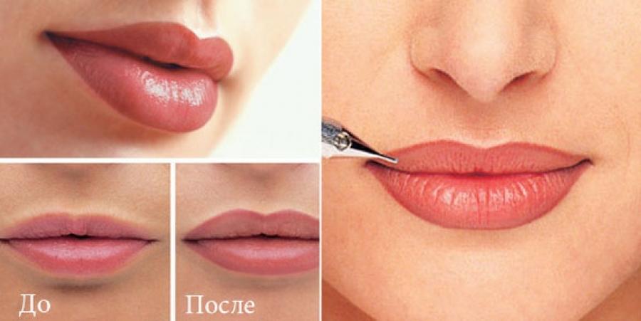 Фото перманентный макияж губы