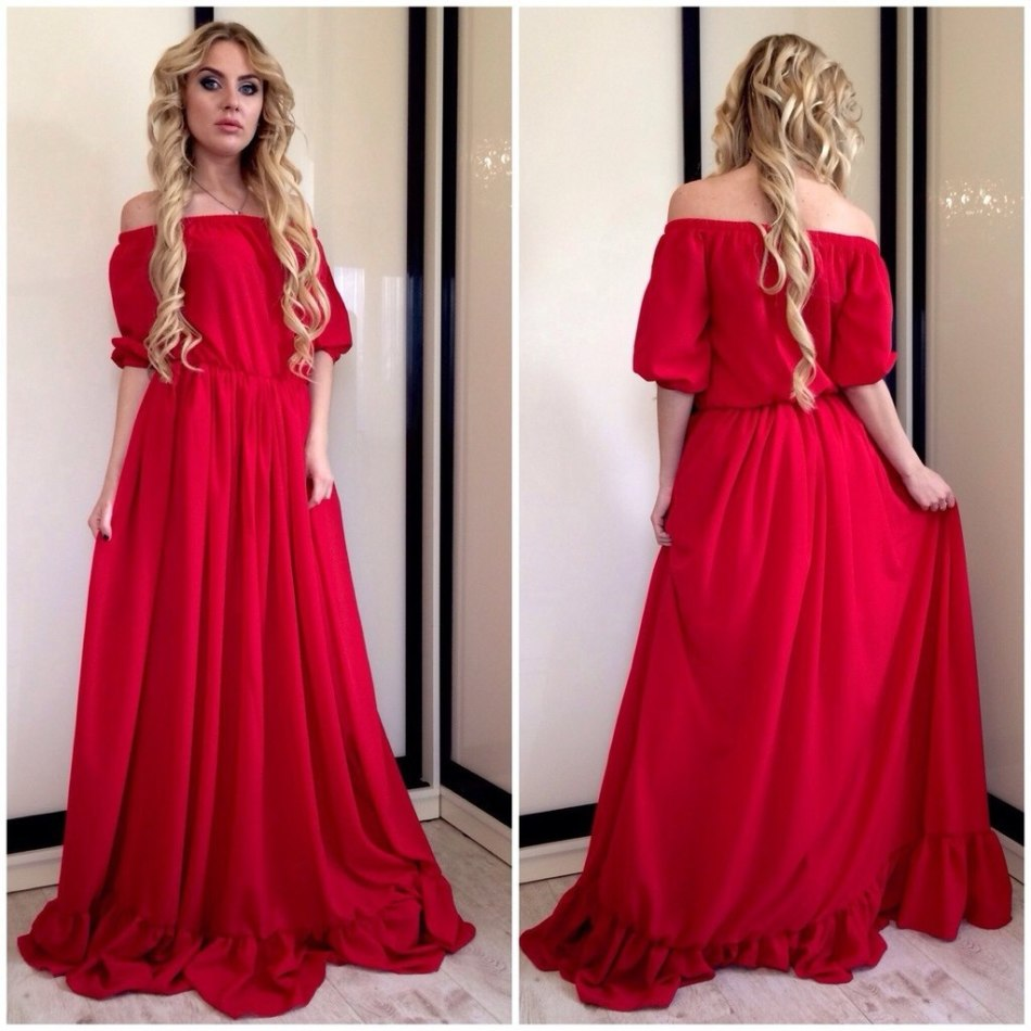 Летние платья в пол красное