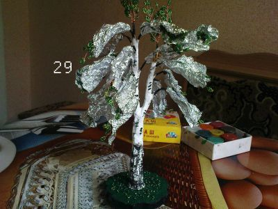 berezka-shag-8 Деревья из бисера своими руками