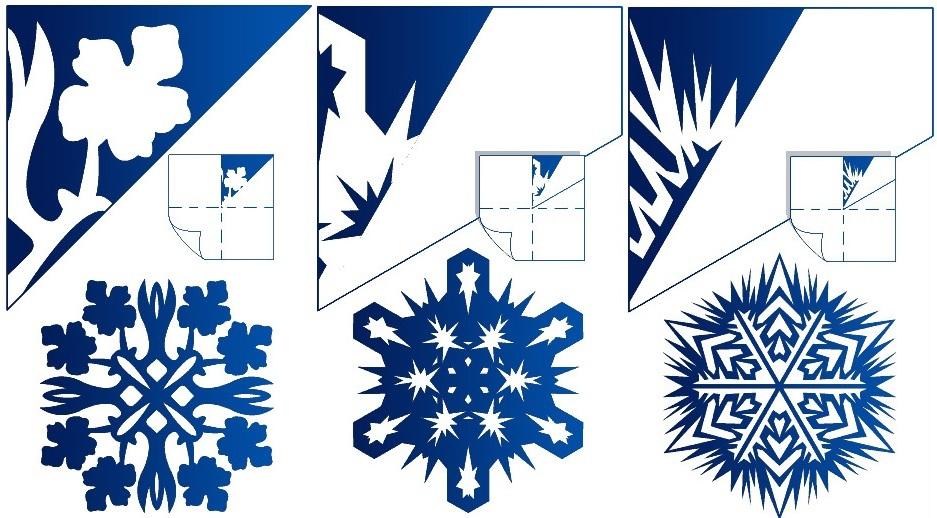gotovaya-snezhinka-i-shema-risunka-dlya-ee-virezaniya-variant-2 Как вырезать красивые снежинки из бумаги своими руками поэтапно? Как сделать объёмную снежинку оригами?