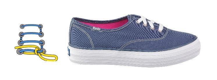 Шнуровка кроссовок с 4 дырками, способ шнурования