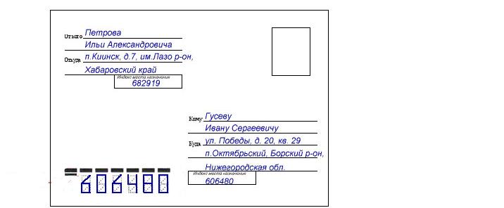 Шаблон по написанию адресной информации