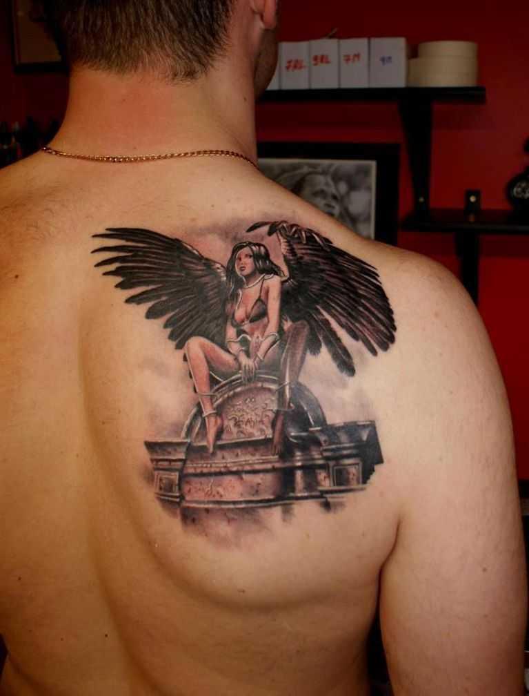 афро-американский парень, фото тату ангела на лопатке мужские обои для рабочего