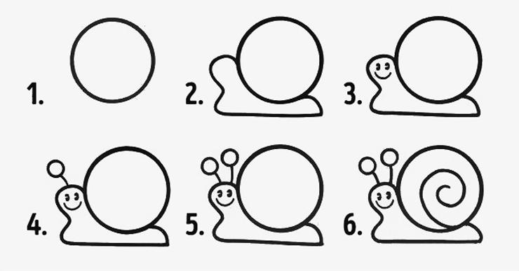 ulitka-risunok-poyetapno Красивые и легкие рисунки для срисовки карандашом поэтапно для начинающих. Красивые и легкие рисунки по клеточкам для срисовки в тетради и личном дневнике для девочек и мальчиков