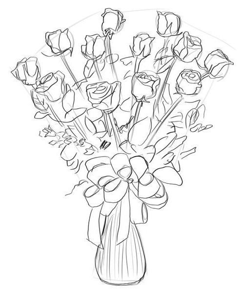 nabrosok-buketa-roz Как нарисовать розу карандашом поэтапно для начинающих? Розы: рисунок карандашом