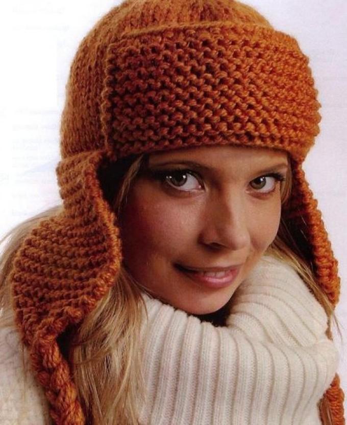 zimnyaya-shapka-spicami-s-ushkami Как связать шапку с ушами? Схемы шапок с ушками кошки, совы и длинными ушами