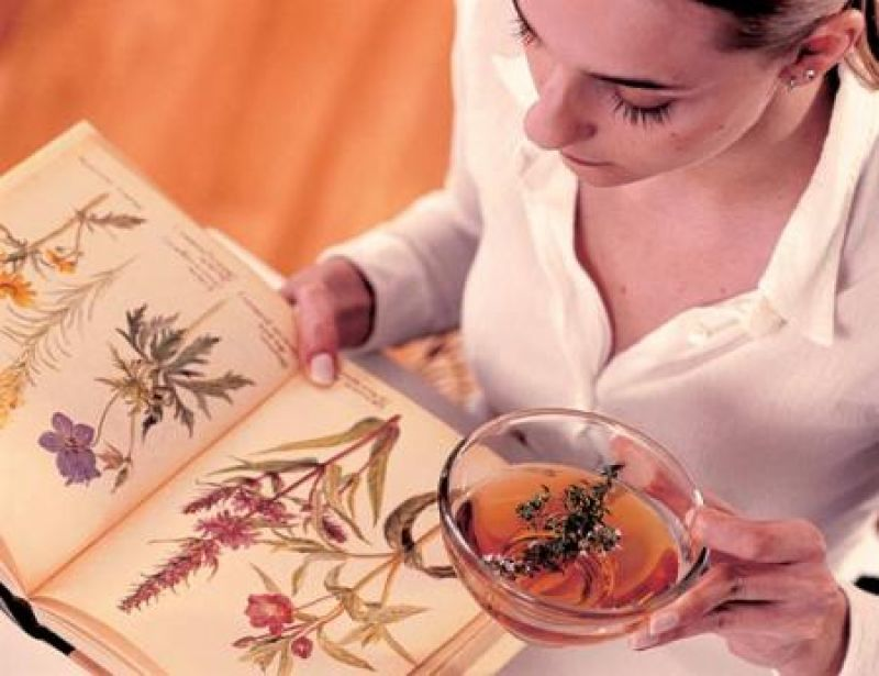 Беременная девушка изучает справочник растений