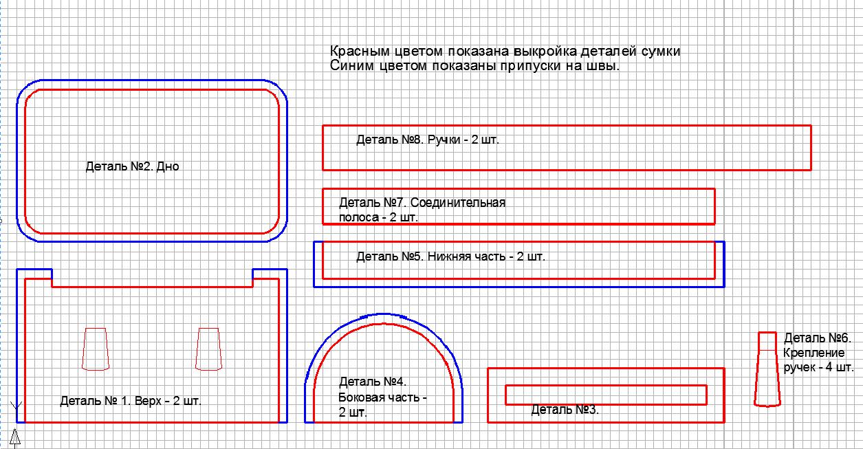 vikroika-vmestitelnoi-dorozhnoi-sumki Сумки своими руками - выкройки для пошива из ткани или кожи