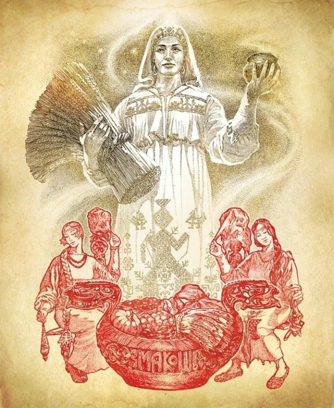 Картинка для тату в виде богини-оберега макошь