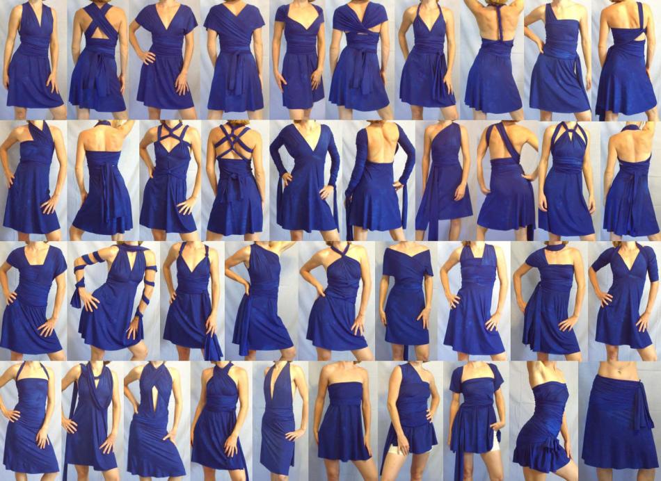 sinee-plate-transformer-korotkoe Платье трансформер: варианты вечерних платьев. Как сшить платье со съемной юбкой своими руками?