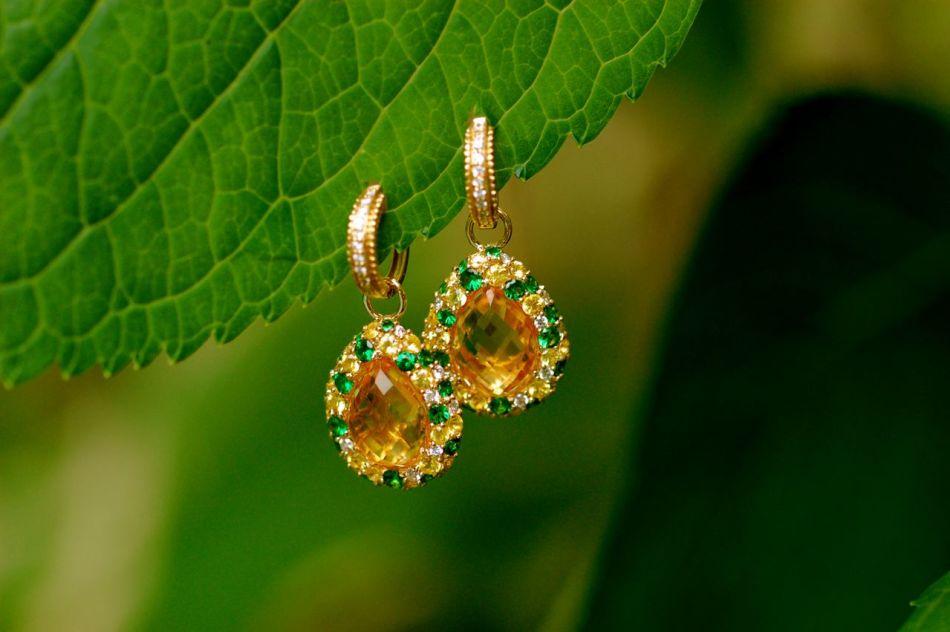 Серьги с цитринами, сапфирами и алмазами