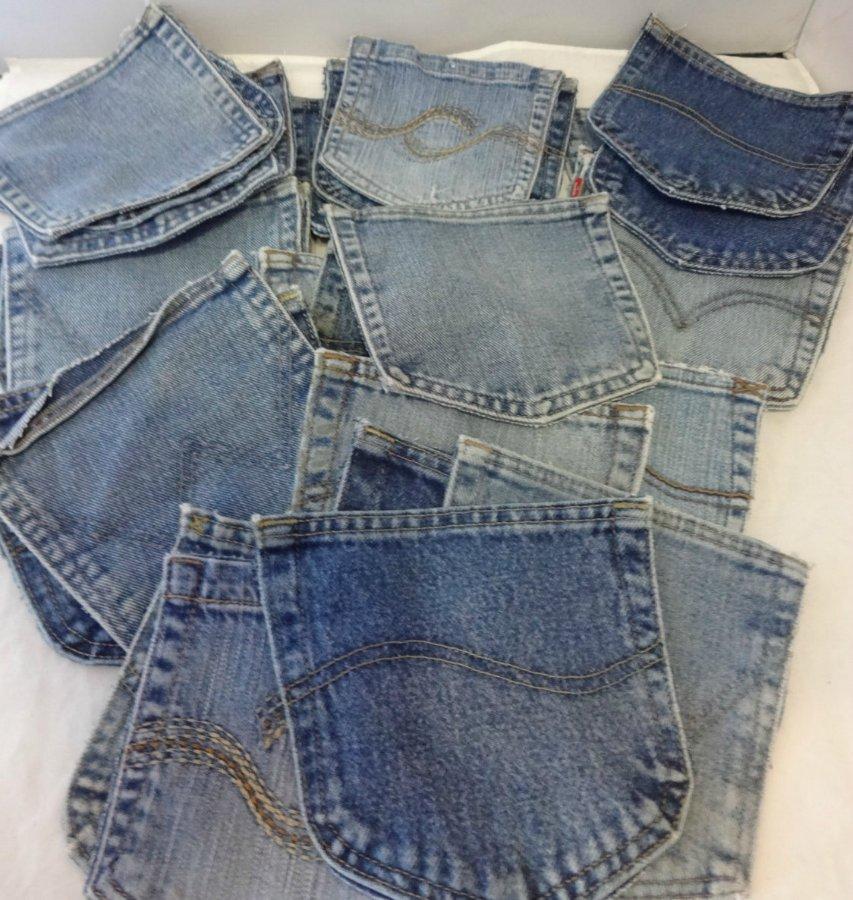 Коллекция отрезанных карманов со старых джинсов для заплаток на попе