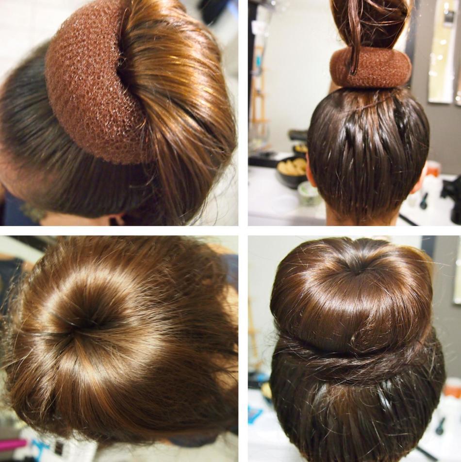 Схема плетения пучка с бубликом на средние и длинные волосы