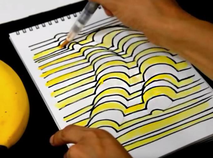 razukrashivaem-zheltoi-kraskoi-polosi Как нарисовать 3д (3d) рисунок на бумаге карандашом