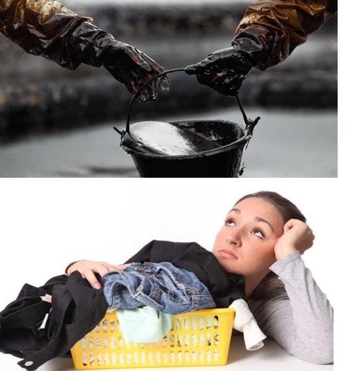 Грустная девушка думает о предстоящем выведении пятен мазута с одежды