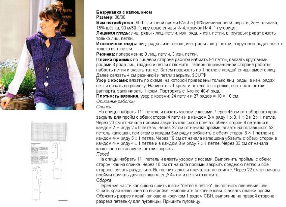 shema-i-poryadok-vyazaniya-spicami-zhenskogo-zhileta-s-kapyushonom-primer-1 Женский жилет спицами: креативные модели, схема с описанием, узоры, фото. Как связать женский жилет спицами для начинающих? Узоры спицами для женских жилетов