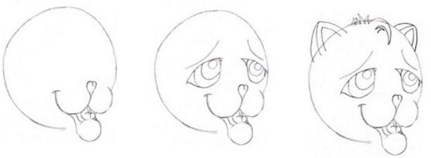 multyashnii-kotenok Как нарисовать котенка карандашом поэтапно для начинающих и детей? Как нарисовать котенка аниме с милыми глазками, мордочку котенка?