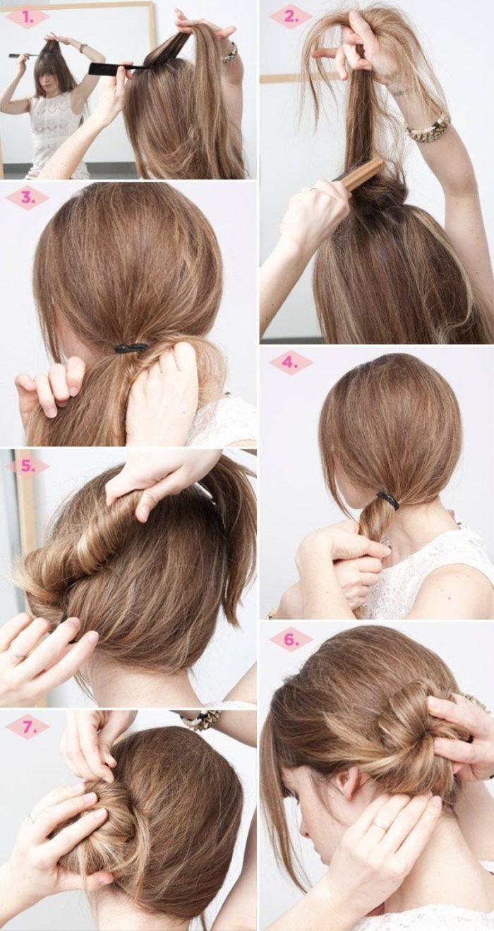 Схема создания бокового пучка на длинных и средних волосах