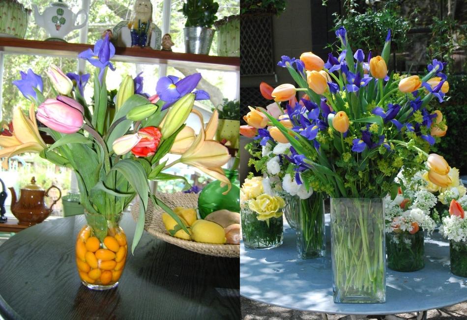 Весенние букеты из тюльпанов и ирисов