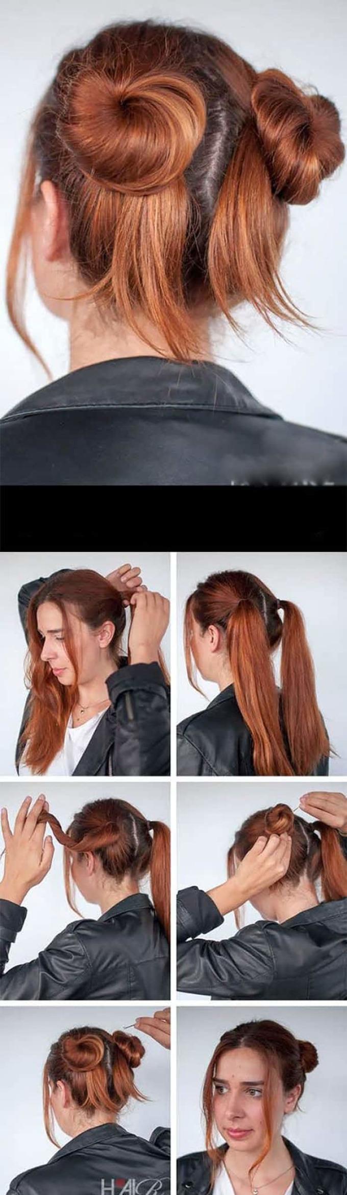 А так делаются пучки на средние или короткие волосы