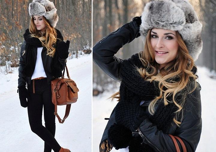 Ушанка и кожаная куртка - это современный тренд